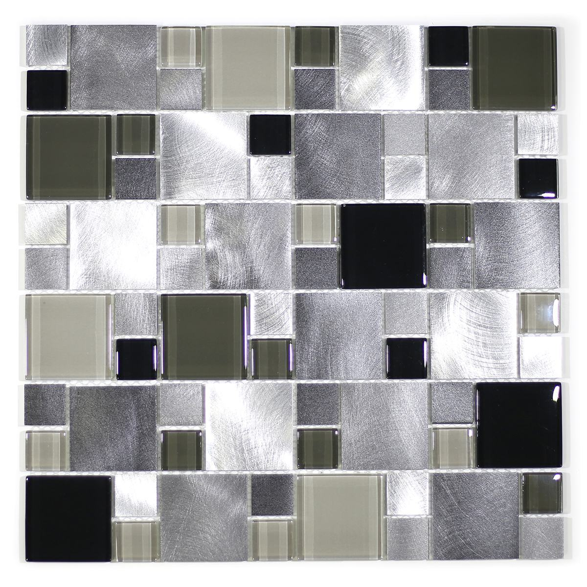 MA64-SM  RANDOM GLASS, STONE AND ALUMINUM COATING MOSAIC MIX