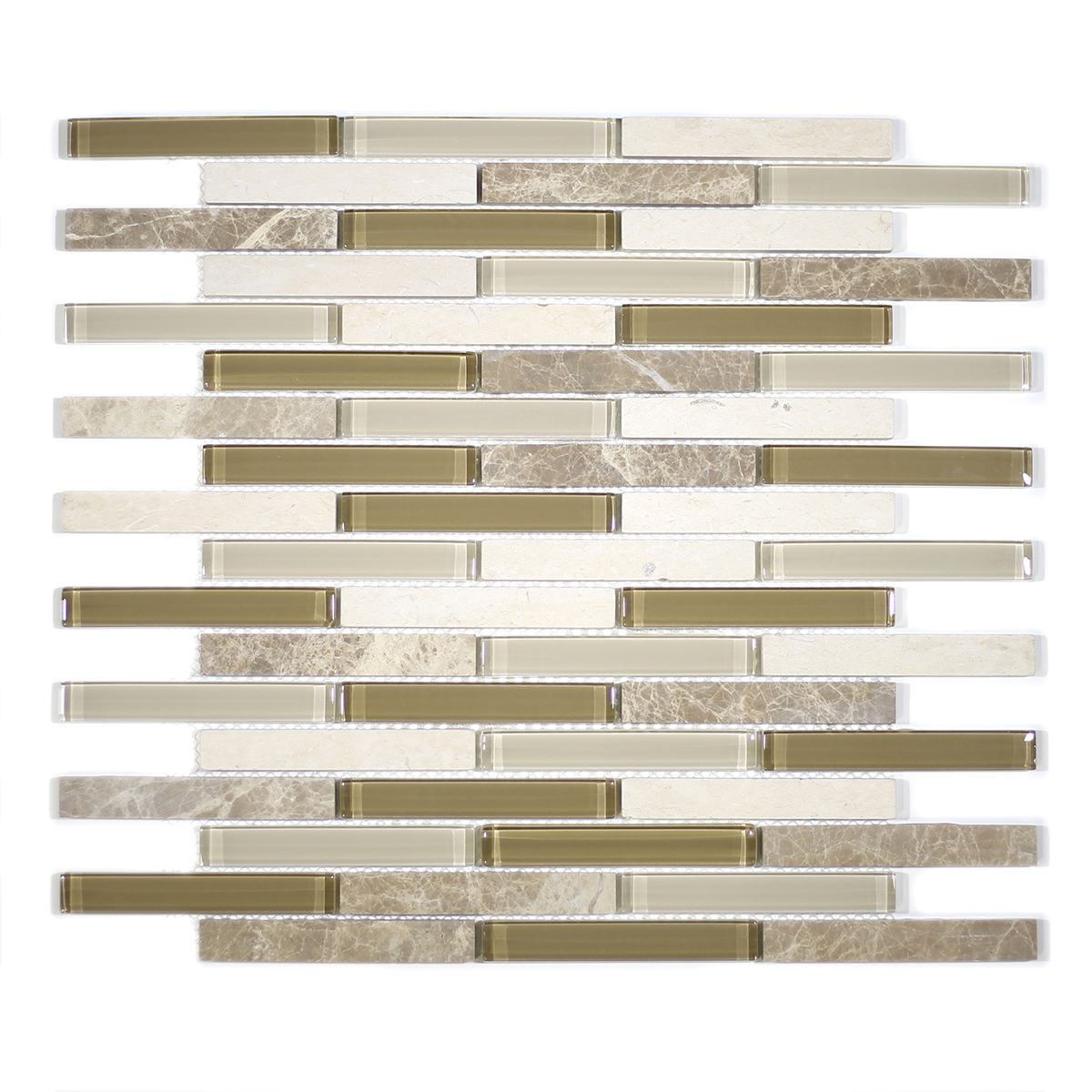 "MA77-EB  4"" BRICK GLASS AND STONE MOSAIC MIX"