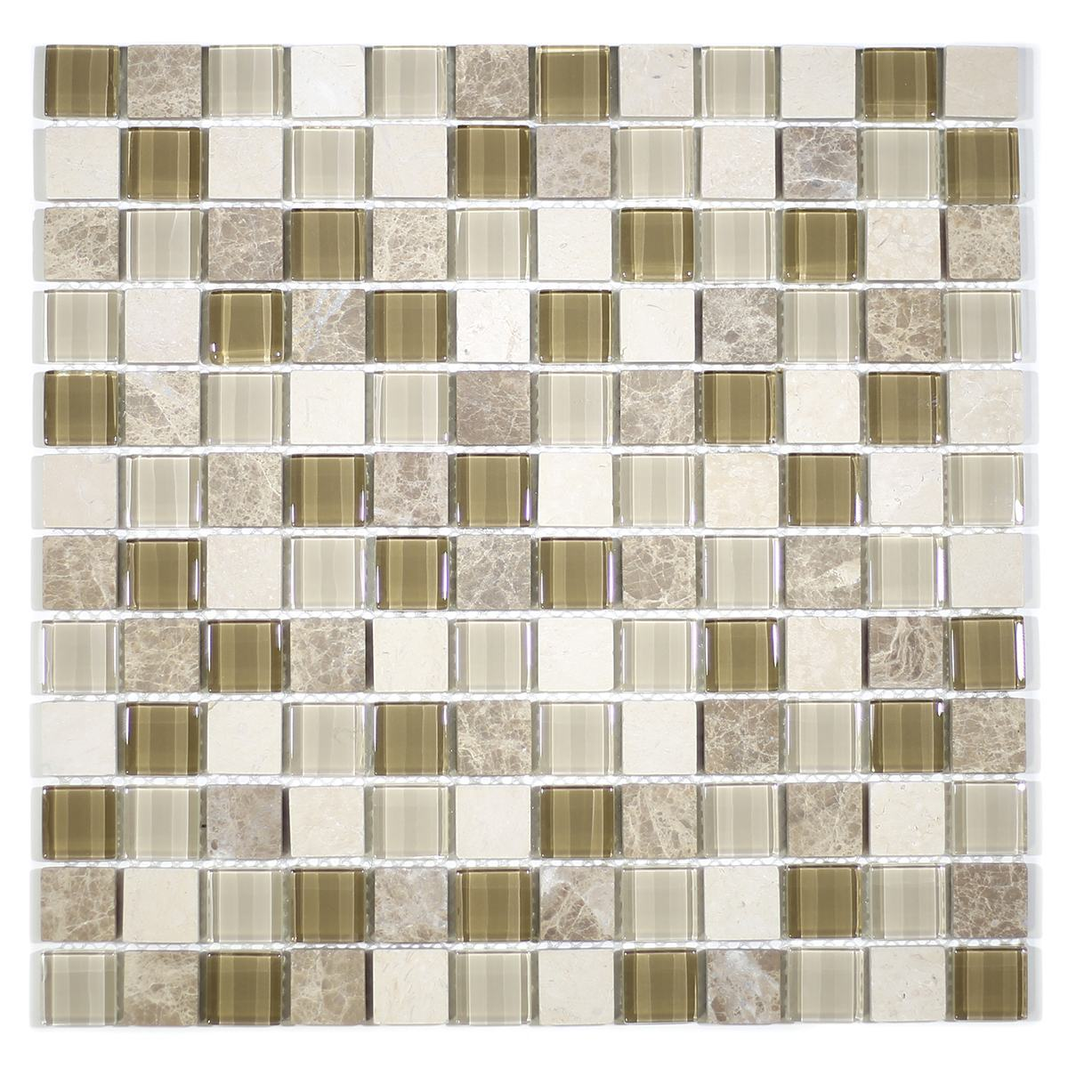 "MA77-LS  1"" SQUARE GLASS AND STONE MOSAIC MIX"