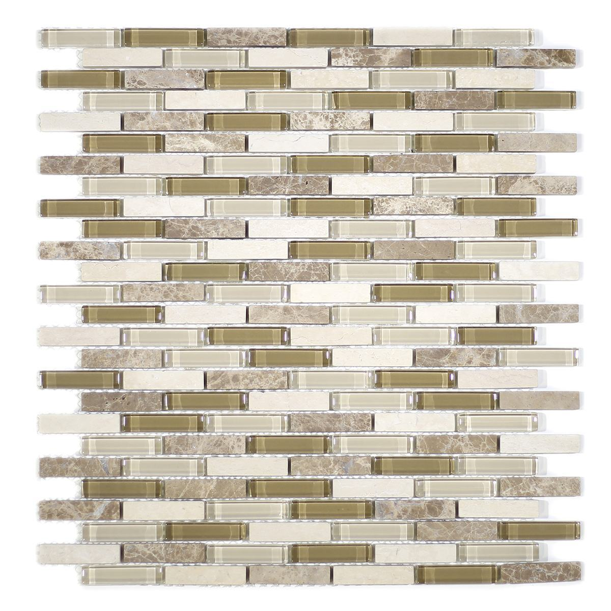 MA77-MB  MINI BRICK GLASS AND STONE MOSAIC MIX