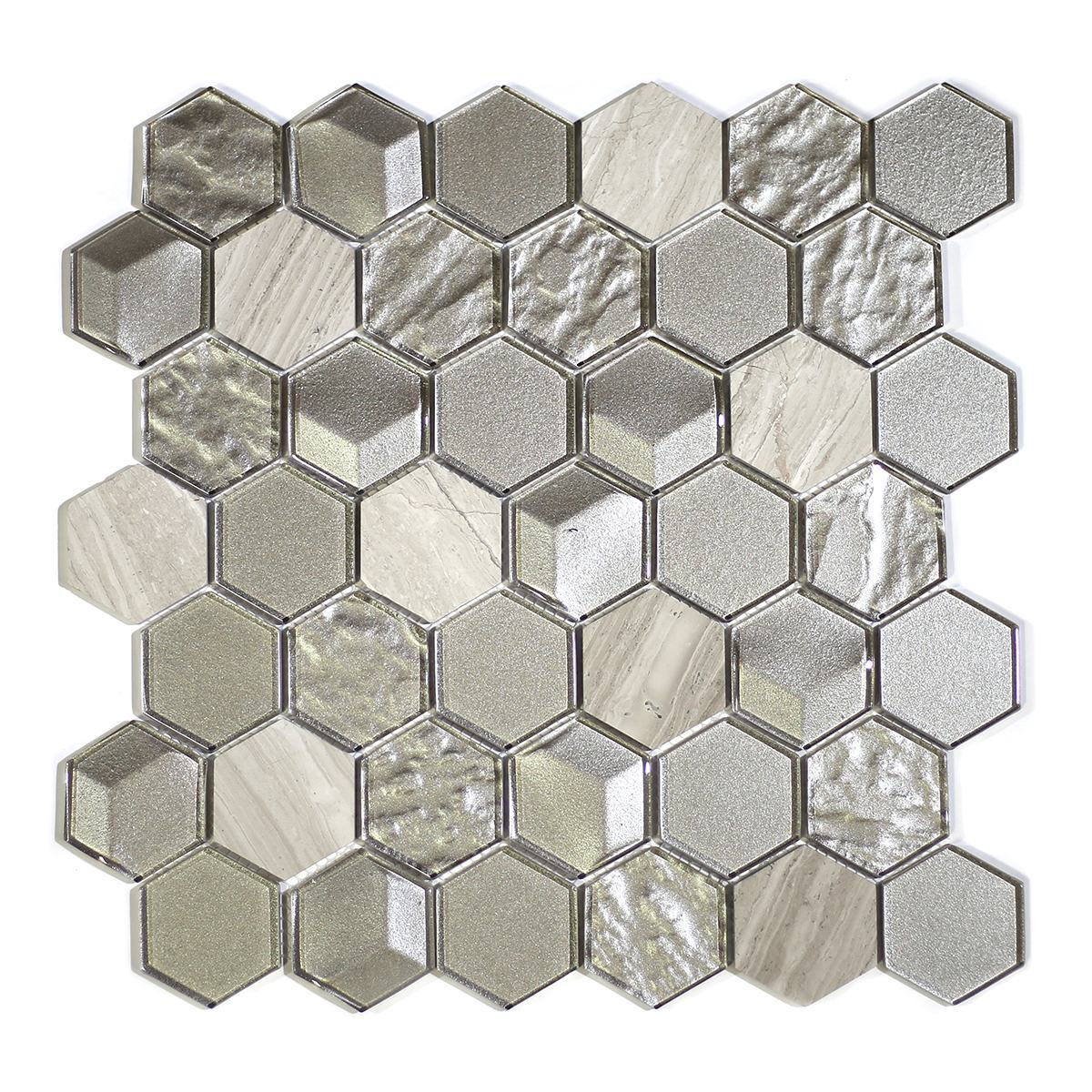 "MA78-HX  2"" HEXAGON GLASS AND STONE MIXED"