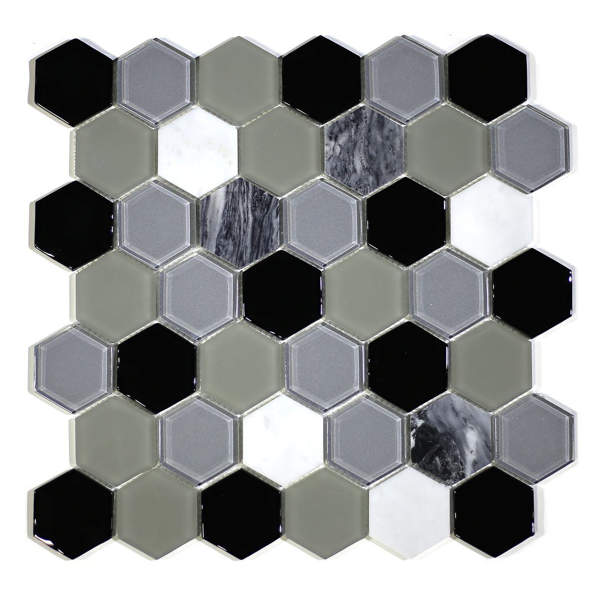 "MA79-HX  2"" HEXAGON GLASS AND STONE MIXED"