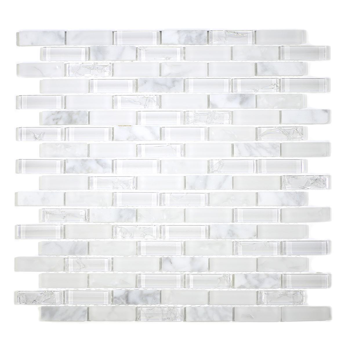 "MA81-LB  2"" BRICK GLASS AND STONE CRACKLE MOSAIC"