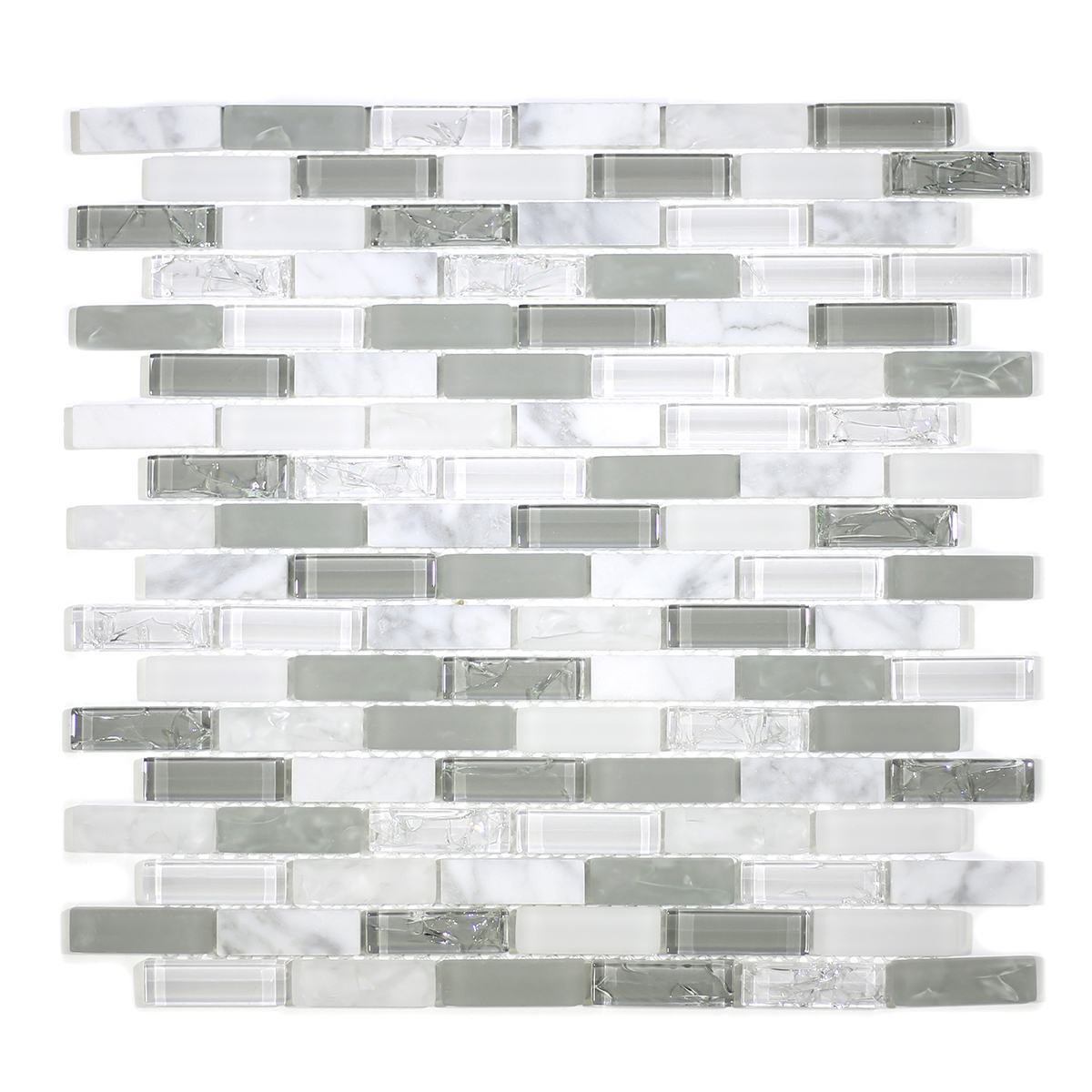 "MA82-LB  2"" BRICK GLASS AND STONE CRACKLE MOSAIC"