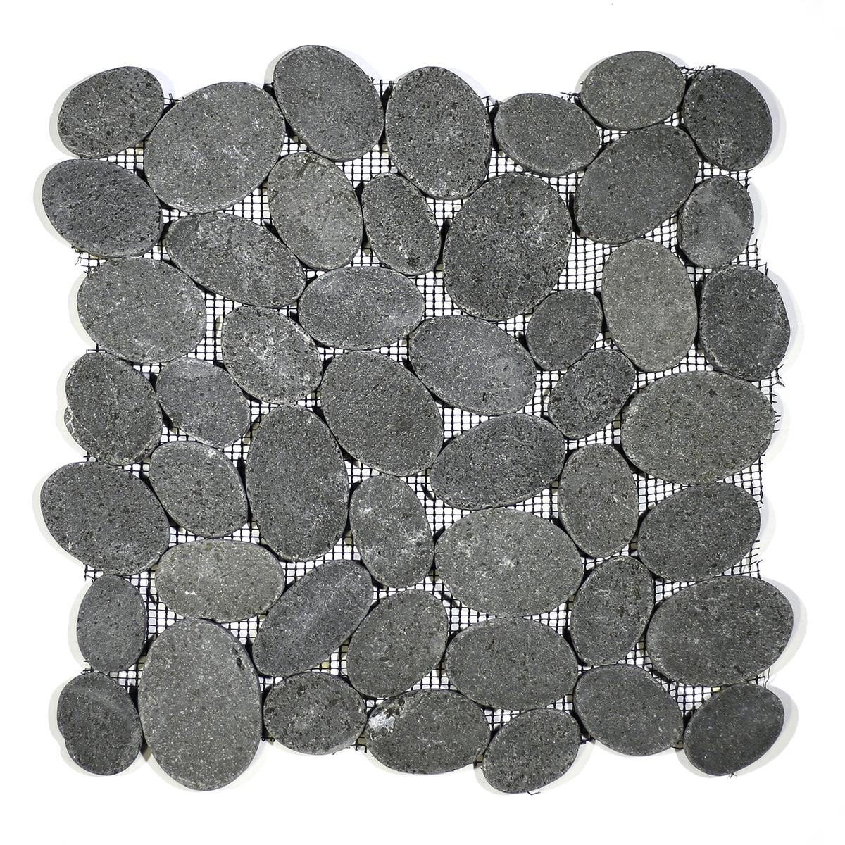 COIN MARBLE TILE BASALT BLACK  TUMBLED STONE PEBBLES