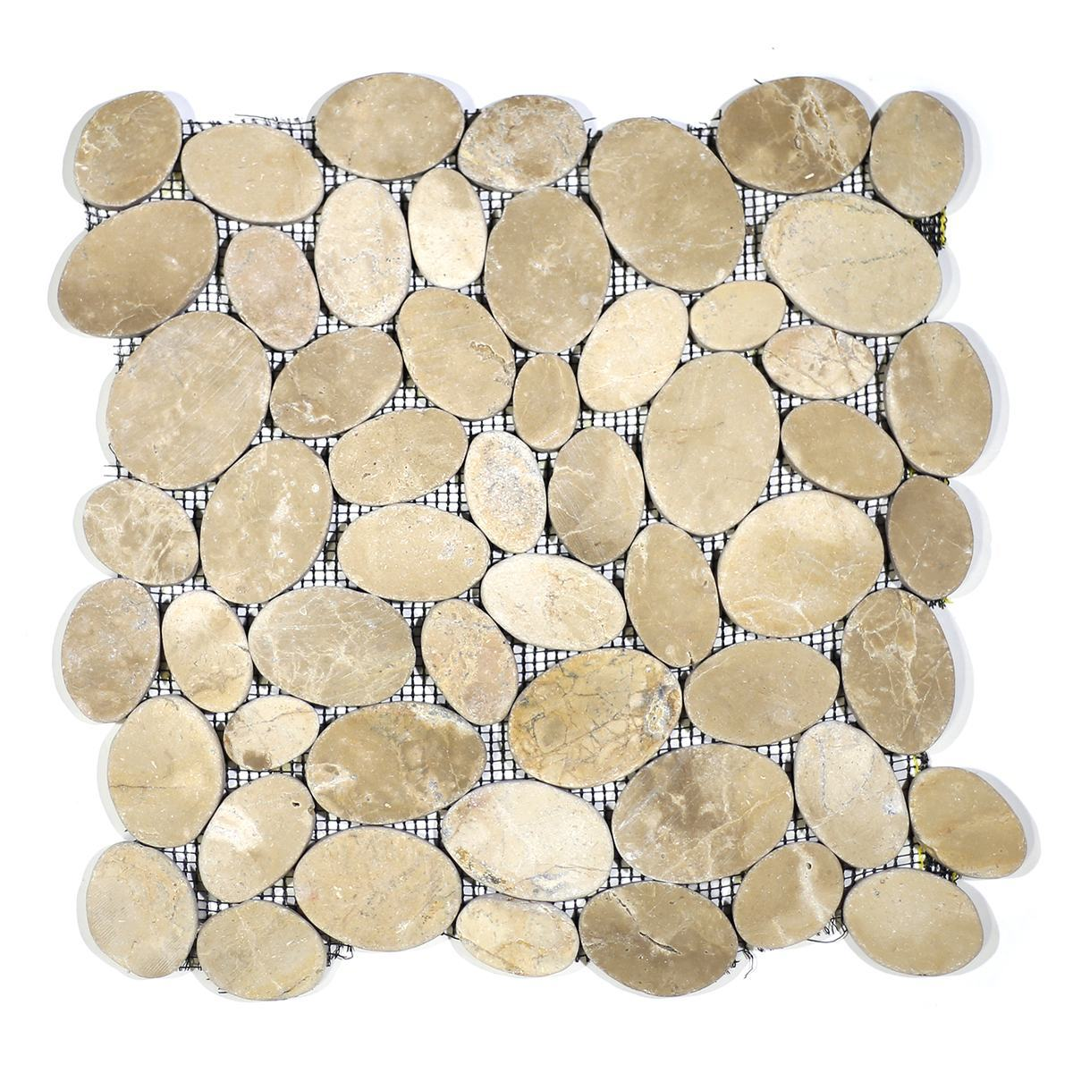 COIN MARBLE TILE TAN TUMBLED STONE PEBBLES