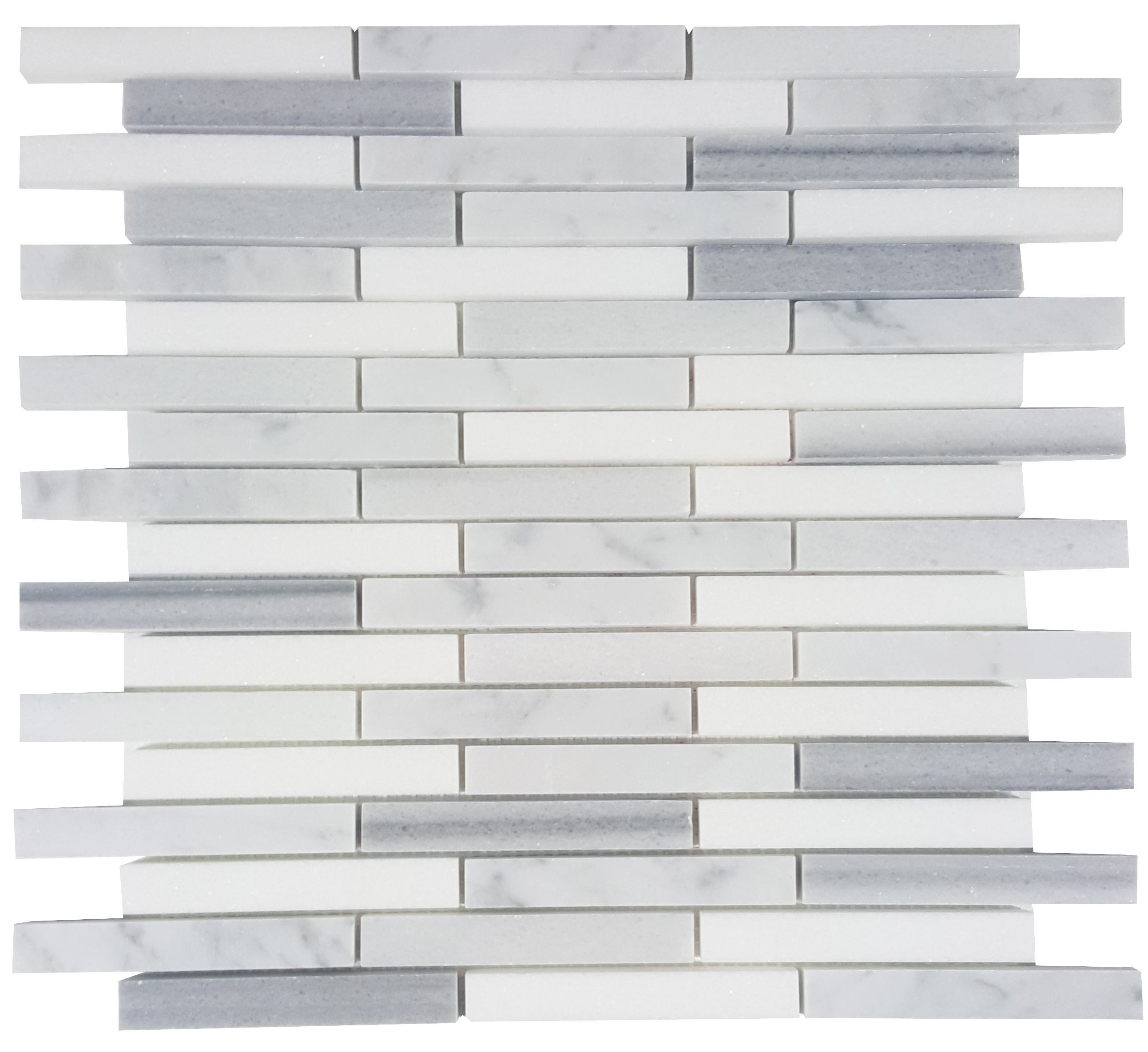 MA212-ST  5/8 Carrara, marwa, thasos Strips with space polished