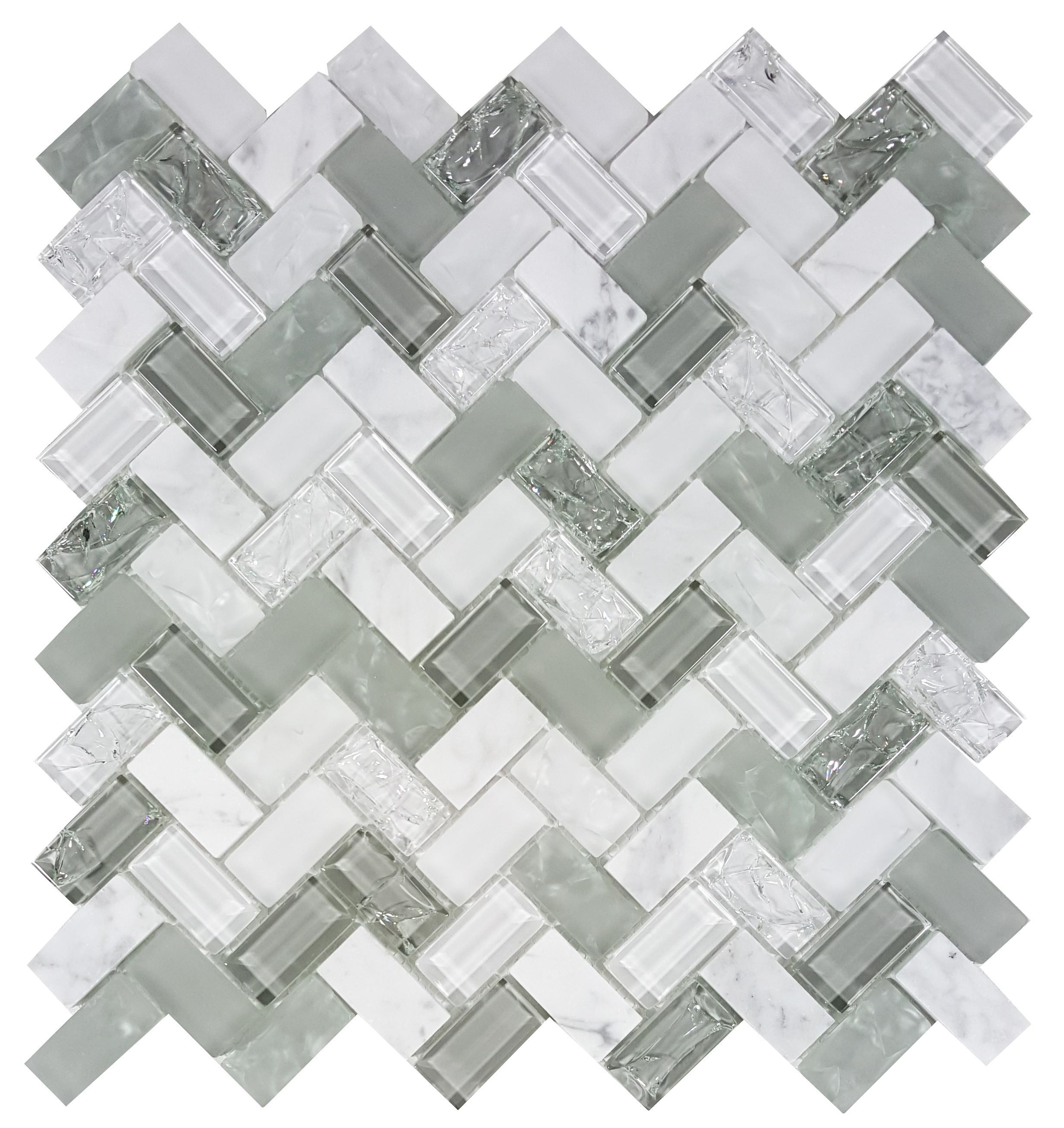 MA82-HB  HERRINGBOM GLASS AND STONE CRACKLE MOSAIC
