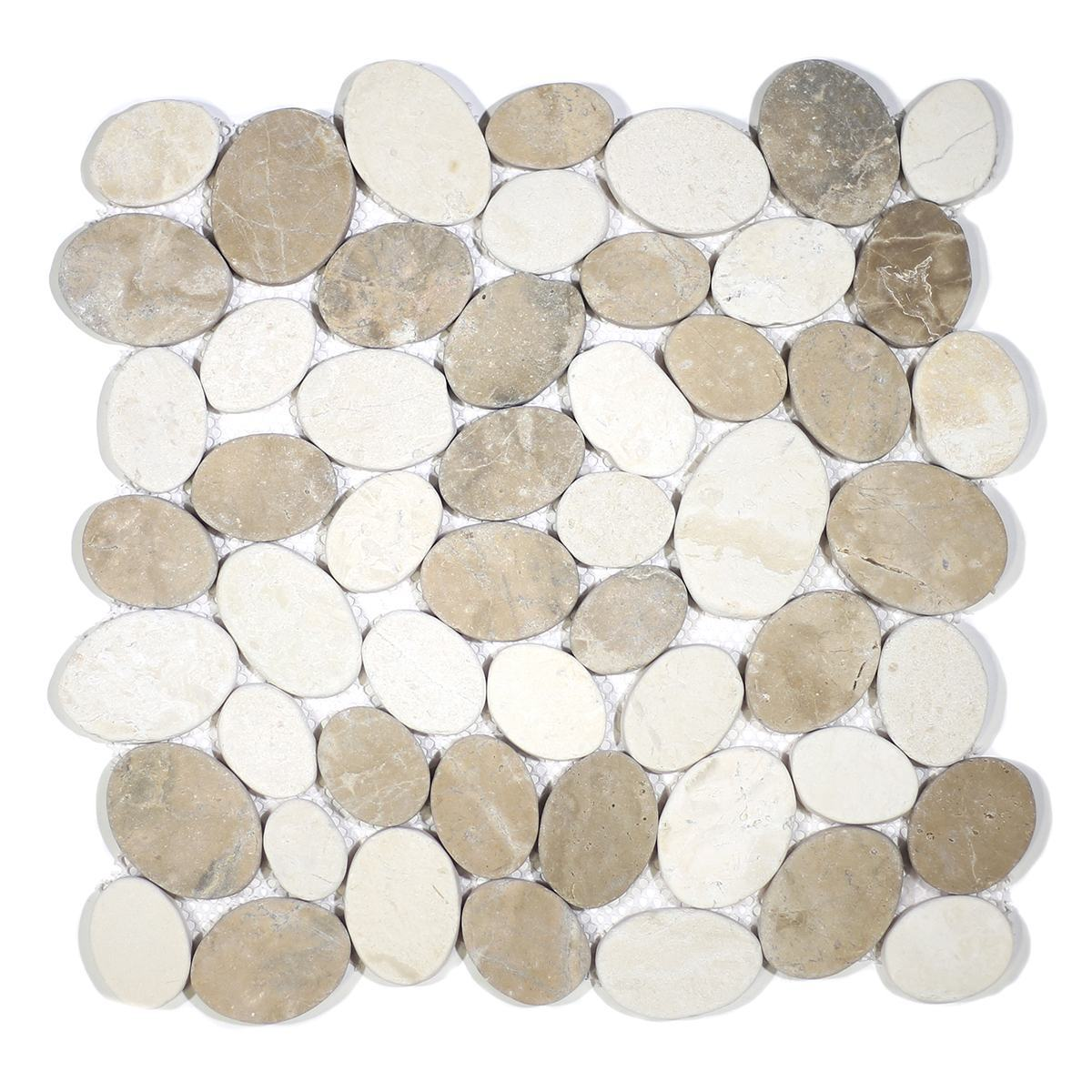 COIN MARBLE TAN & OFF-WHITE TUMBLED STONE PEBBLES
