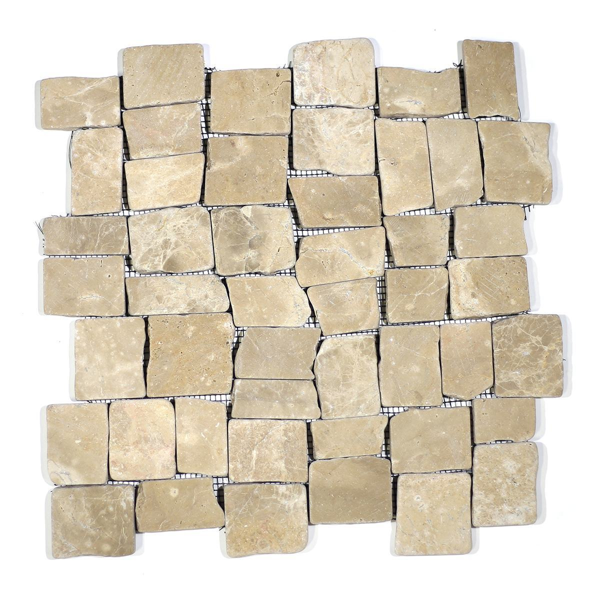 BLOCK TUMBLE MARBLE TAN STONE PEBBLES MOSAIC