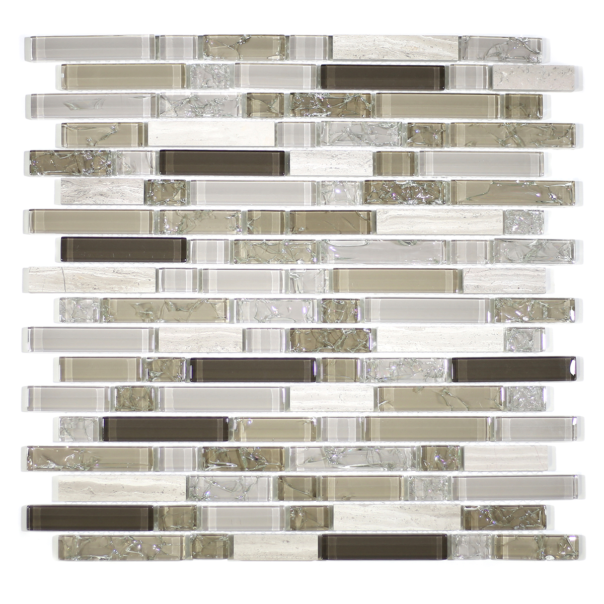 MA60-RB  RANDOM BRICK GLASS AND STONE CRACKLE MOSAIC