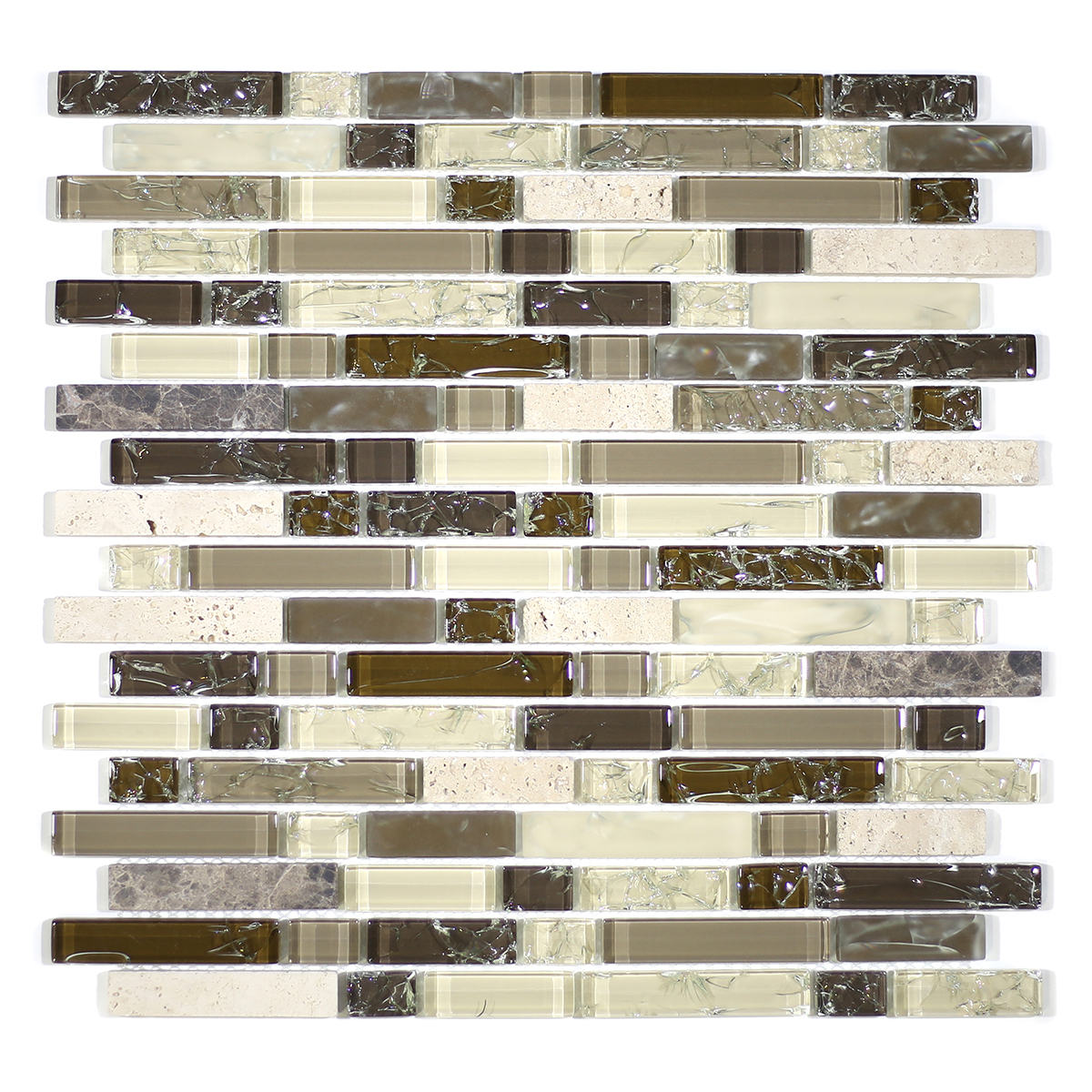 MA62-RB  RANDOM BRICK GLASS AND STONE CRACKLE MOSAIC