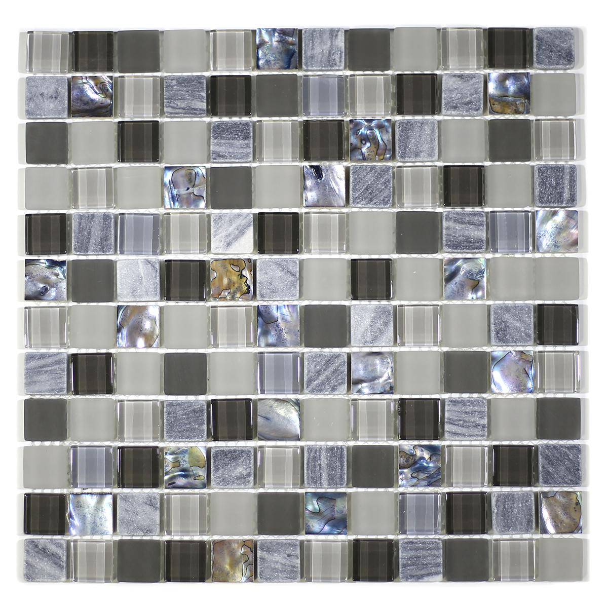 """MA69-LS  1"""" SQUARE SHELL, MARBLE AND GLASS MOSAIC"""