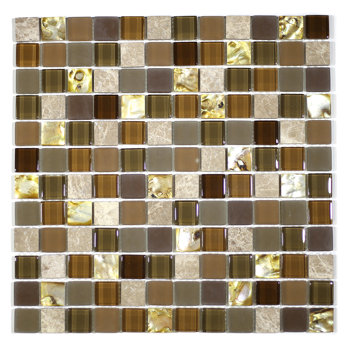 "MA70-LS  1"" SQUARE SHELL, MARBLE AND GLASS MOSAIC"