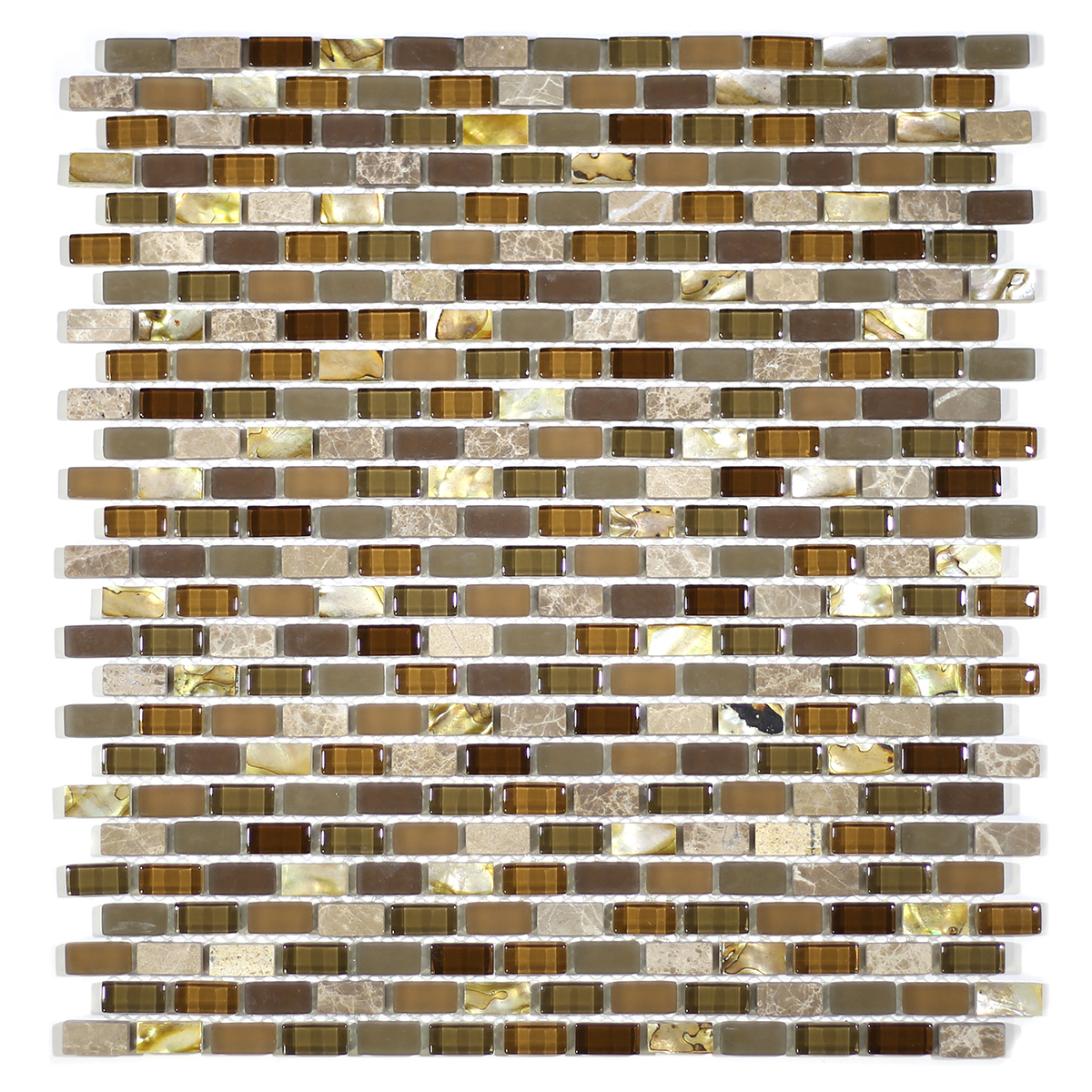 MA70-MB  MINI BRICK SHELL, MARBLE AND GLASS MOSAIC
