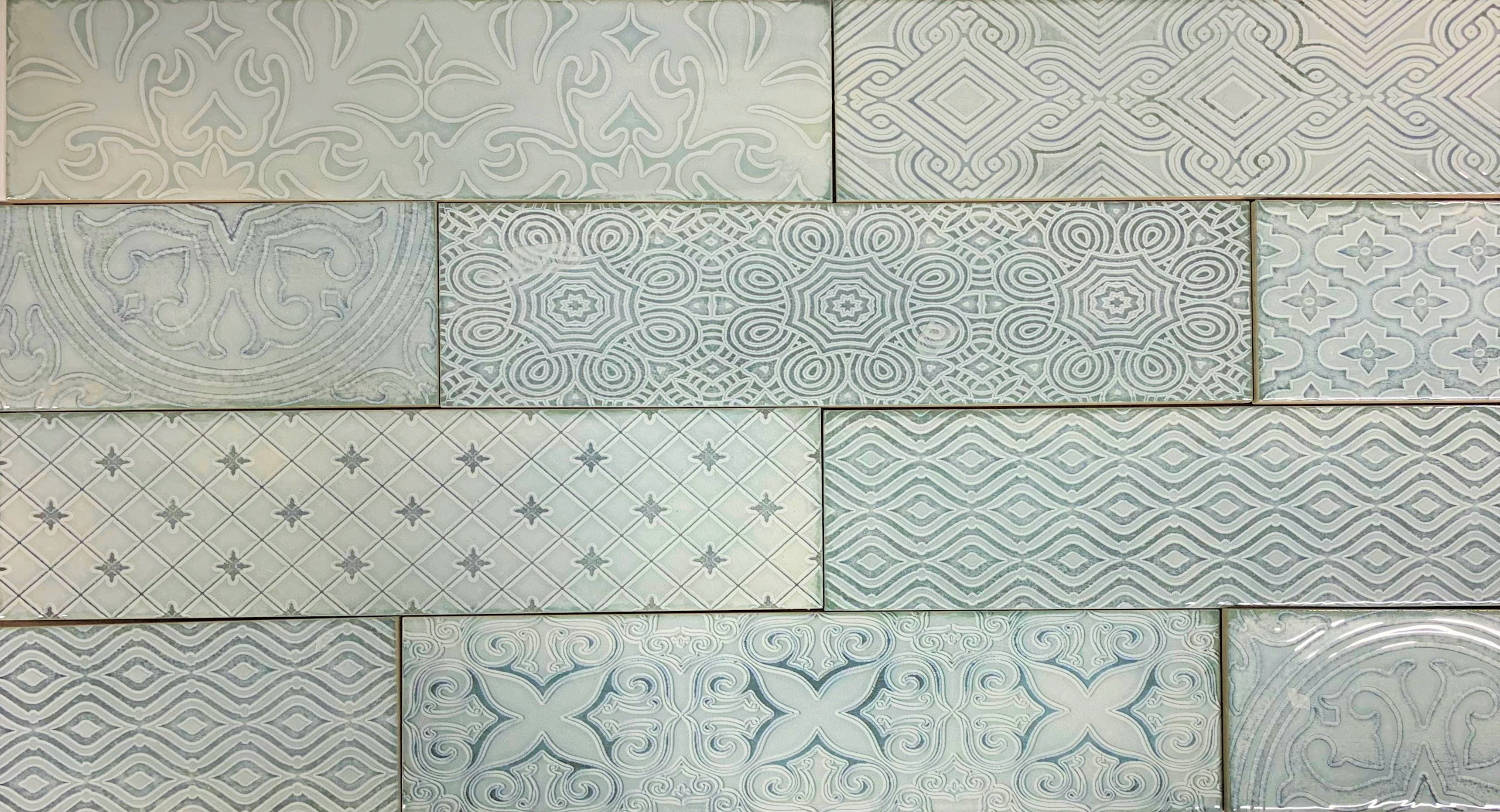 3 X 12 Atlas Sea Decorative Subway Ceramic Tile (8 mixed patterns)