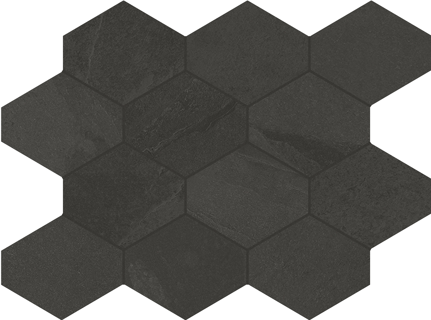 4 x 4 Brazilian Slate Rail Black Rectified Porcelain hexagon