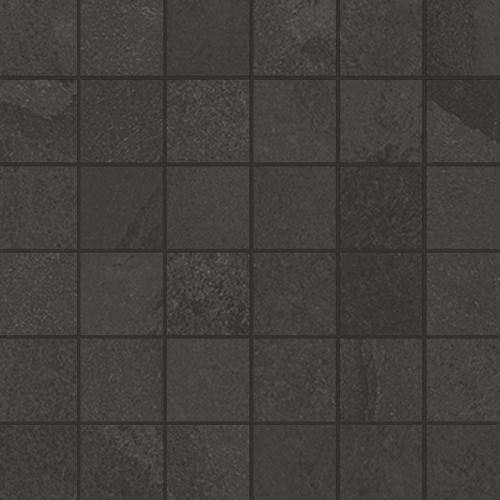 2 x 2 Brazilian Slate Rail Black Rectified Porcelain mosaic